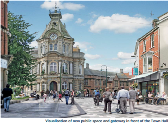 Visualisation of new public space and gateway in front of the Town Hall