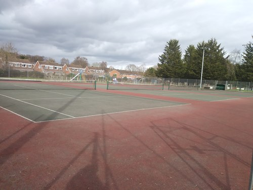 Image of current tennis courts at Lords Meadow Leisure Centre