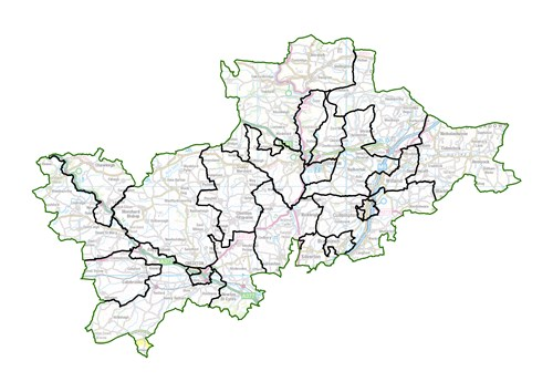 Map of boundary review for Mid Devon