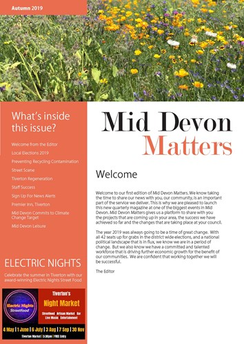 Front cover image of Mid Devon Matters newsletter