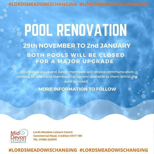Pool renovation advert for Lords Meadow Leisure Centre