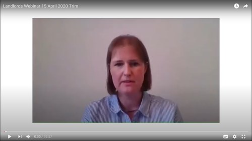Screenshot of Joanne Young presenting the Landlords webinar