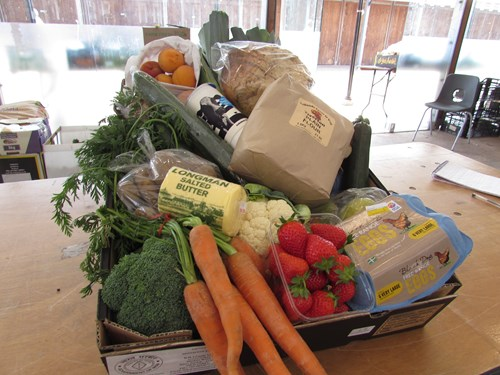 Photo of Kelland's veg boxes ready for delivery