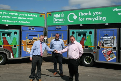 Image of new RomaQuip recycling lorry key handover from SFS to Councillor Luke Taylor