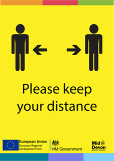 yellow poster showing two figures who are socially distanced