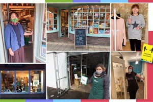 Town Centre Businesses welcome you back. Photos of local business owners with Facemasks, letting us know their business is open and a safe place to be.